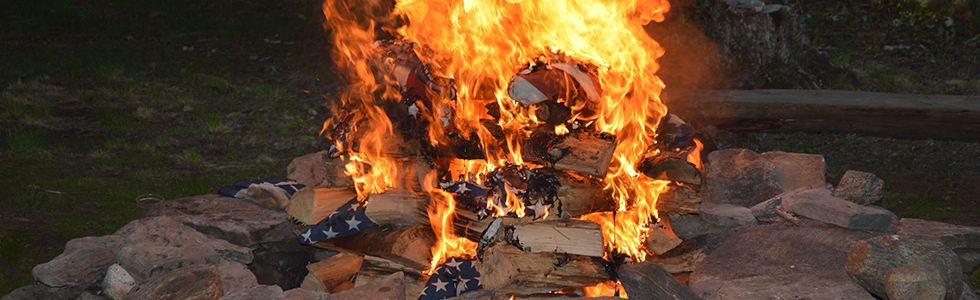 Flag burning ceremony 2014.